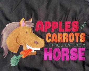 Embroidered Apron, Chef Apron, Horse Apron, Cotton Apron, Adult Apron, Apron with Pockets, Reversible Apron, Woman's Apron, Man's Arpon
