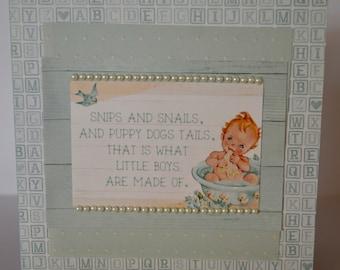 Handmade Birth Congratulation Card - Boy
