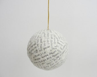 """Vintage book page ornament 2.5"""" ball"""