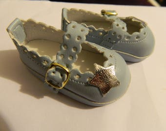 "Disney Animator  16""   shoes in pale blue with silver stars doll shoes"