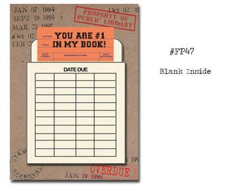 You are #1 in my book! Book Themed Card with a Vintage Book Card and Library Pouch.