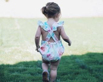 Watercolor Floral Romper / Bubble Romper / Sunsuit / Baby Romper / Baby Sunsuit / Girls Romper / Baby Girl Romper