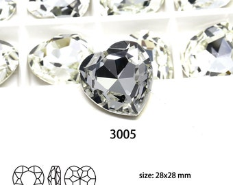 16 Pcs 28*28mm Heart Clear Fancy Stone Non Hole Jewelry Component