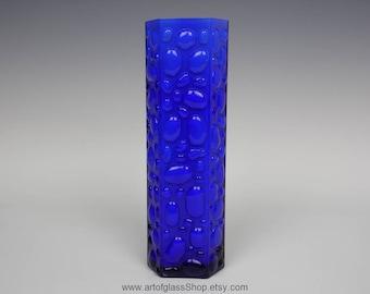 Vintage 1960s/1970s 'bubble' textured blue glass vase