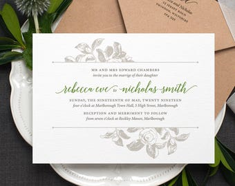 Botanical Wedding Invitation / 'Vintage Rose' Modern Calligraphy Floral Wedding Invite  / Sage Green and Grey or Custom Colours / ONE SAMPLE