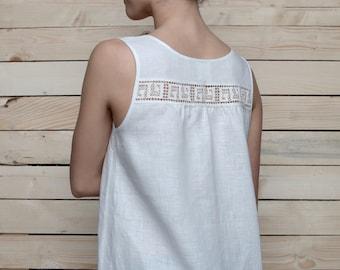 Pure Linen White Top Laced At Back/ Linen blouse/ Linen Shirt Sleeveless