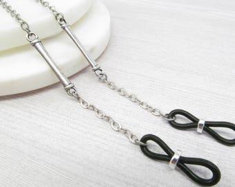 Dark Silver Eyeglass Chain for Men, Reading Glasses Chain, Chain for Glasses Lanyard, Eyeglass Holder Necklace, Mens Eyeglasses Chain