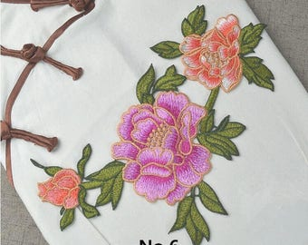The Pink peony patch, Purple embroidered flower patch, decor applique, dress patch, sew on,Embroidered Sewing supplies.Embroidered Applique