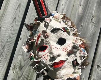 Art mask, wearable paper mache sculpture, unique design, clown, pierot inspired, no shipping