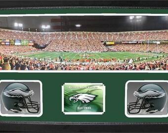 Double Mini Helmet Panoramic Shadowbox - Philadelphia Eagles