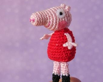 PDF PATTERN - Crochet Miniature Peppa Pig - Amigurumi Tutorial