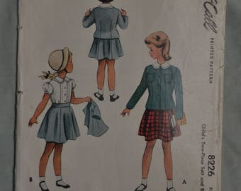 Little Girls Skirt, Blouse & Jacket Pattern - Size 2  - Mccalls 8226