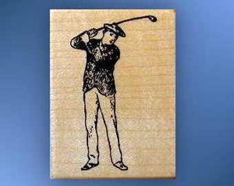 Vintage-style GOLFER Mounted rubber stamp Father's Day, man golfing, golf club, Sweet Grass Stamps No.14