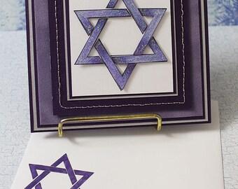 Hanukkah Star of David- Handmade Greeting Card