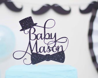 Little Man Baby Shower Cake topper - Welcome Little Gentleman - Moustache - Top hat - bow tie