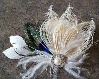 Peacock Wedding Hair Clip, Ivory peacock, Bridal Fascinator, Feather Fascinator, Bridal Hair Clip, Wedding Hair Accessories, peacock hair