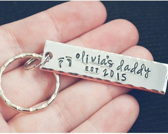 Christmas Gift for Dad from Baby - New Dad Gifts Keychain - Stocking Stuffers for Men - Dad Established Key Chain - Hand Stamped Keychain