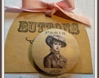 Button collection Vintage Lady n2 28mm