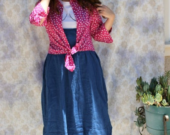 Vintage 1980s Coldwater Creek Pink Polka Dot Button Up Shirt