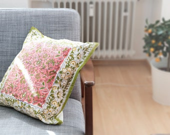 Oriental Indian Woodblock Pillow Cover