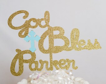 Personalized Glitter Cake Topper for  Baptism // Christening // Confirmation // First Communion - 7 inches