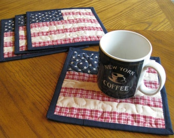CLOSE OUT SALE Americana Quilted Mug Rugs / Handmade Coasters