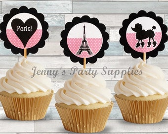 Set of 12 Paris Cupcake Toppers, Eiffel Tower Picks, Eiffel Tower Toppers, Paris Birthday Party