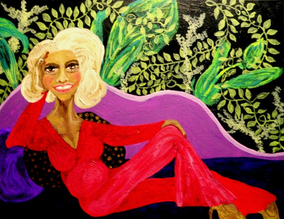 "Acrylic Painting, ""ROSE"", by Hoosier Folk Artist Stacey Torres mature woman lounging on purple chaise lounge w/a botanical background"