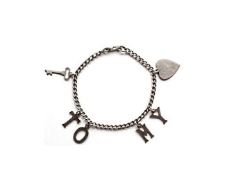 Vintage Charm Bracelet . vintage silver charm bracelet . sweetheart bracelet . sterling silver bracelet