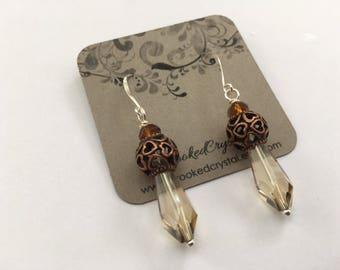 Earrings - Drop Earrings - Sterling Silver, Copper and Crystal Earrings - Fancy Earrings - Sterling Earrings - Long Earrings - Dress Earring