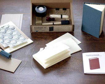 Bookbinding Kit - Complete Cased in hard cover bookbinding kit with tools, supplies and instruction book
