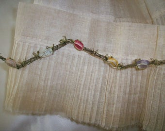 rare antique authentic ribbon work silk/metal Garland