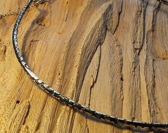 Etched solid silver choker