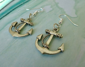 Anchor with a bow earrings