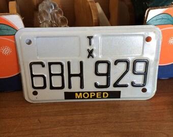 Texas moped plate unused.