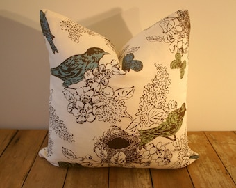 Thomas Paul Perch Seaglass Pillow Cover / 20x20 inches / Birds, Flowers