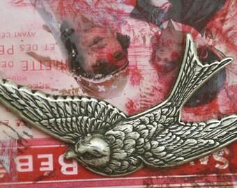Bird Brass Stamping in Mid-Flight, Brass Stampings, Brass Ox, Brass Birds, Jewelry Supplies made in the USA