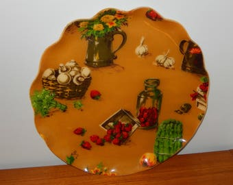 """Vintage """"Fab"""" Tray in Fruit and Veggie Pattern on Gold Background with Scalloped Edge"""