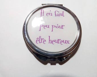 resin cabochon Pocket mirror, it takes to be happy