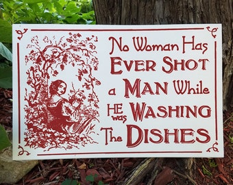 French Toile Inspired Cottage Chic Wood Kitchen Sign Washing Dishes