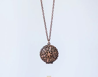 Antiqued Copper Filigree Round Diffuser Locket Jewelry Necklace