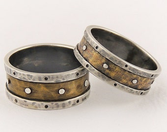 Rustic wedding ring set - engagement ring set,unique wedding set,medieval rings,man and woman