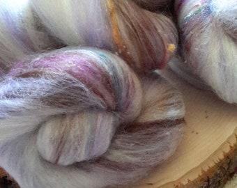 Woodland Violet Rockin' Rolly battlet set - soft mixed fibers for spinning, fiber arts