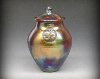 Raku Urn or Lidded Vase with OM Symbol