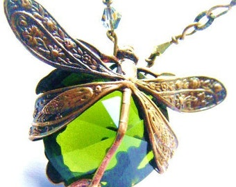 Dragonfly Necklace-Harvest Pattern Art Nouveau with Peridot Green Glass Stone Heirloom Quality MAny Colors Made to Order