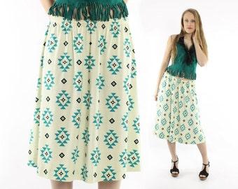 Vintage 80s Southwestern Skirt Ivory Knit Hippie Boho Festival Fashion 1980s Medium M Large L Turquoise Indian Print