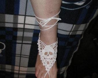 skull barefoot sandals / white