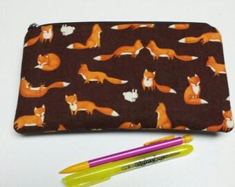 Fox Zipper Pouch, Fox Pencil Case, Fox Medication Bag, Fox Gadget Bag, Fox Marker Case, Fox Pouch, Fox Cosmetic Bag, Nylon Lining.