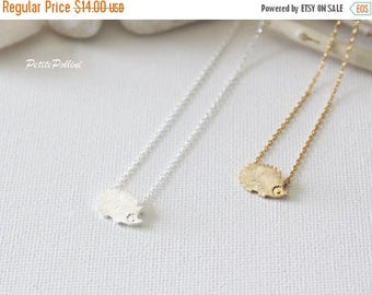 Hedgehog Necklace in Silver/ Gold. Collarbone Necklace. Layering Necklace. Woodland. Birthday Gift. Sweet 16. Gift For He