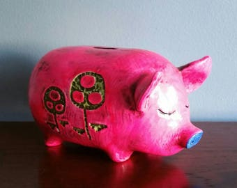 1960s hot pink groovy fitz and floyd style piggy bank